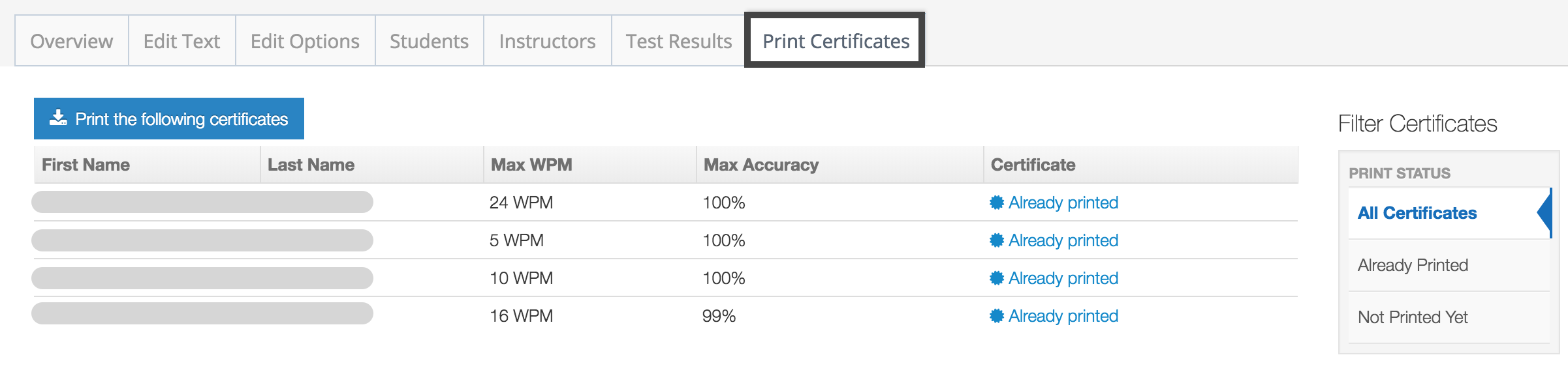 certificates typingclub typing test students them